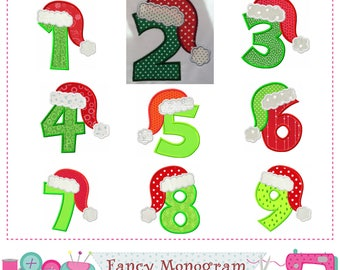 Christmas Numbers applique,Birthday Numbers applique,Santa Claus,Christmas,Numbers design,Numbers embroidery design,Christmas applique.