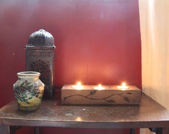 Rustic Handcrafted Nature Inspired Flower Tea Light/Incense Holder
