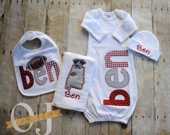 Personalized Baby Gift Set - Alabama Football Crimson Tide - Newborn Gift Set Infant Gown - Newborn Hat - Bib - Burp Cloth - Baby Shower