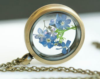 Forget me not Flower necklace, Personalised, Bronze necklace, Glass Locket pendant, forget me not Jewelry, Woman jewelry, initial pendant