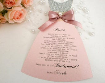 Dress card Bridesmaid Proposal Card  Will you be my Bridesmaid Invitation Card Bridesmaid Cards Wedding Invitation Flower girl Gift Card