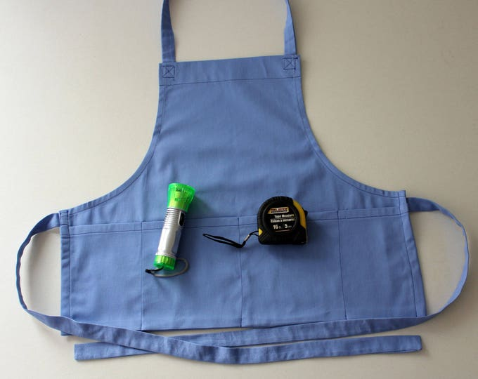 Daddy's Little Helper Child's Denim Craft Apron for Ages 2-6. Kid Chef Apron with Adjustable ties. Toddler Handyman Outfit. Tools Included