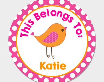 Personalized Back to School Name Stickers - Pink & Orange Bird Child Name Labels - School Supply Labels - Buy 3 Get 1 Free