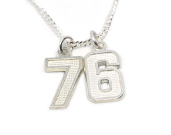 Number charm necklace team jersey number personalized gift number necklace silver numbers number jewelry jersey number necklace personalized jewelry aloadofball Choice Image