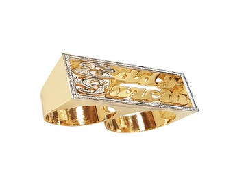 Lee083dc-14K 12mm 14K Gold Rectangular Pave-cut Finished Double Name Ring