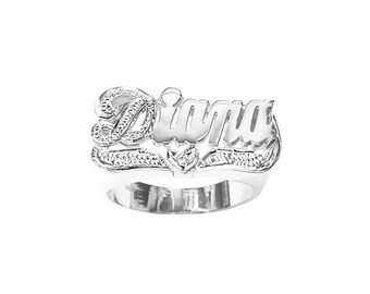 SNS094cz Silver 11mm One Cubic Zirconia Heart Name Ring with Pave-cut