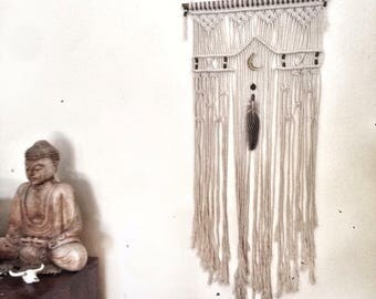 Handmade macrame wall hanging; boho decor wall art; 34cm x 70cm made-to-order