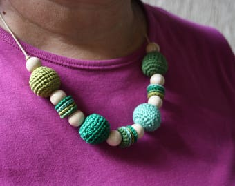 Crocheted necklace // with wooden beads // handmade jewelry // present for her // cotton