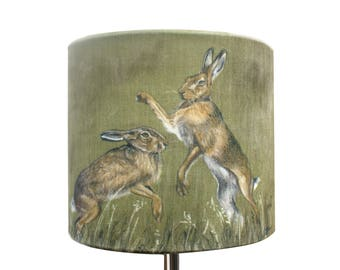 Boxing Hares Lampshade by Grace Scott