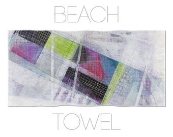 Multicolor Fabric Beach Towel, Abstract Towel, Abstract Art, Original Beach Towel, Cool Gym Towel