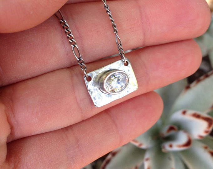 "Cubic zirconia oval necklace sterling silver 18.5"" silver chain oxidized"