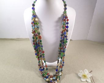 Beautiful Vintage 5 Strand Multi Color Glass and Stone Beaded Necklace  DL# 2908