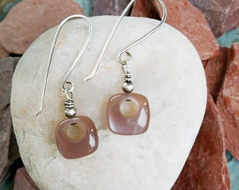 Earrings-Moonstone-Chocolate-Semi Precious-Square-Sterling Silver-Dangle-Wire Wrapped-Handcrafted-Handmade-Unique-OOAK-One Of A Kind-Gift