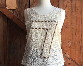 Cream Wool Lace Top + Hand Studded