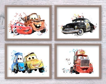 Disney Cars Set of 4 Cars Disney poster Cars watercolor print Lightning McQueen wall decor Cars pit crew illustration Kids room decor V460