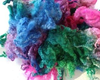 Hand Dyed Locks - Border Leicester - Doll Hair - Lockspinning - Spinning - Troll Hair - Doll Making - Blythe Doll - Peacock - Felting