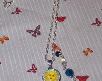 pressure Sun glass cabochon necklace