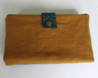 Wallet or bag fabric Japanese blue teal and mustard linen companion