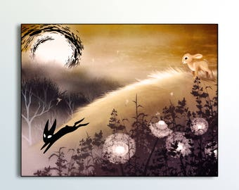 Watership Down black rabbit of inle illustration. Peaceful surreal landscape. Canvas print. Handsigned. Giclee handsigned print. Black sides