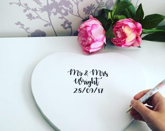 Heart shaped stretched canvas alternative wedding guest book, alternative wedding guest book