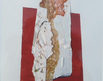 """Painting - Collage 5-mixedmedia-material-abstract-informal.Size 11,8""""x15,7"""""""