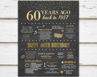 Printable 60th Birthday Chalkboard Sign, Back in 1957, Birthday Gift, Birthday Poster, 1957 Poster, Digital, Download, Sign, MB018