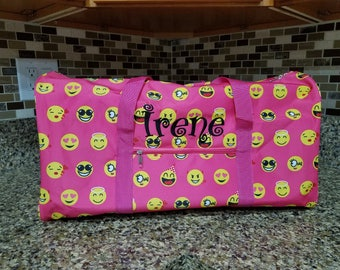 Pink Emoji Icon Round Duffel Bag with Embroidery for summer camps, family trips, birthday gift, back to school, field trip