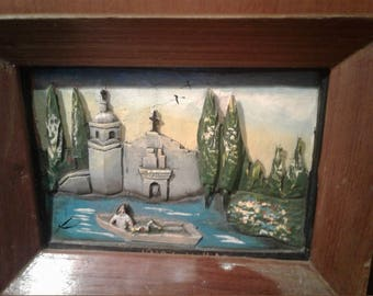 Small Vintage 3D Carved Wood Painting On Board