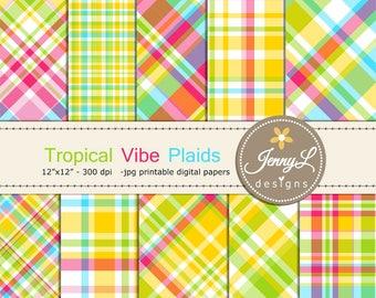 Tropical Plaids Digital Papers, Summer for  Digital ScrapbookingPaper, Planner, Birthday