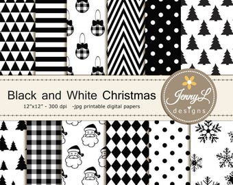 Black and White Christmas Digital Papers, Christmas Tree, Santa Claus Holiday Digital ScrapbookingPaper,