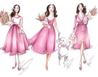 Spring Ladies - Fashion Illustration, Fashion Wall Art, Girly Wall Art, Fashion sketch, Spring Fashion Art, Pink Fashion art, Fashion Art