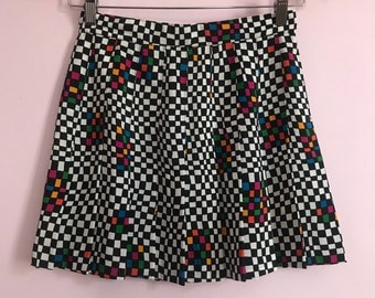 Vintage 80s / 90s Tail Brand Checkered Retro Pleated Tennis Mini Skirt