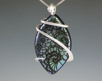 Patterned Dichroic Glass Cold Forged Sterling Silver Pendant