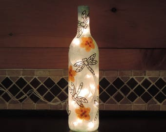 Dragonfly wine bottle light with dragonflies and flowers - dragonfly light - tissue paper collage