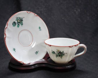 Nymphenburg Demitasse China Tea Cup and Saucer US Zone Germany with Stand
