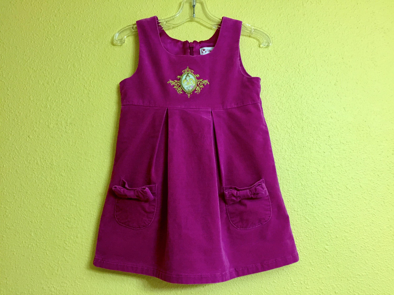 Disney Princess Jumper Pink Magenta Velvet Dress Cinderella Belle ...