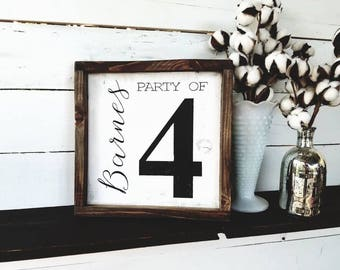 Party of number family last name sign, last name sign, party of sign, framed wood sign, number wood sign, number sign, party of sign, family