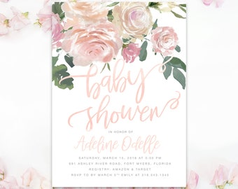 Baby Girl Shower Invitation, Floral Baby Shower Invite Girl, Flowers, Greenery and Blush Pink and Peach Roses, Printed or Printable -Adeline