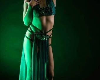 Teal Burlesque Costume