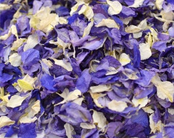 One litre of delphinium petasl natural dried wedding confetti biodegradable (10 small handfuls) ivory and violet purple