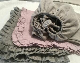 Baby crib Fitted Sheet, 100% Belgian linen