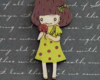 Great charm lime green girl 28x59mm wood