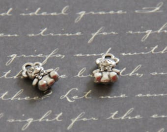 2 silver 11x7mm bear charms
