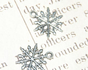 Set of 3 fine silver 20mm metal snowflake charms