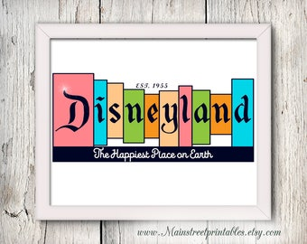 Disneyland Print, Disneyland Sign, Walt Disney, Disney Decor, Disneyland, Disney Print, Disneyland Poster, Vintage Disney, Happiest Place