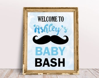 Mustache Baby Shower Decor, Baby Shower Welcome Sign, Little Man Shower  Decor, Little