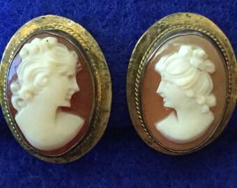 Victorian Shell Cameo Screw Back Earrings in 800 Grade Silver Mount