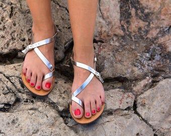 Metallic sandals- Genuine Greek Leather Sandal -Hypatia (Silver Color)