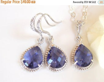 SALE Bridesmaid Jewelry Set, Purple Earrings and Necklace Set,Tanzanite, Amethyst, Sterling Silver,Cubic Zirconia, Pendant Set, Dangle, Gift