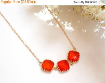 SALE Wedding Jewelry, Orange Necklace, Tangerine Necklace, Gold Filled Necklace, Bridesmaid Gifts, Bridesmaid Pendant, Gifts, Bridesmaids Je